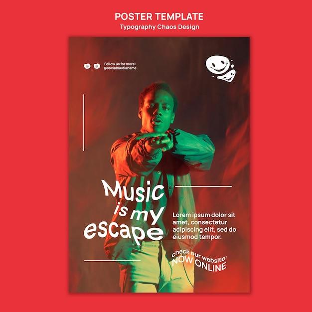 男と霧の音楽のための垂直ポスターテンプレート 無料 Psd