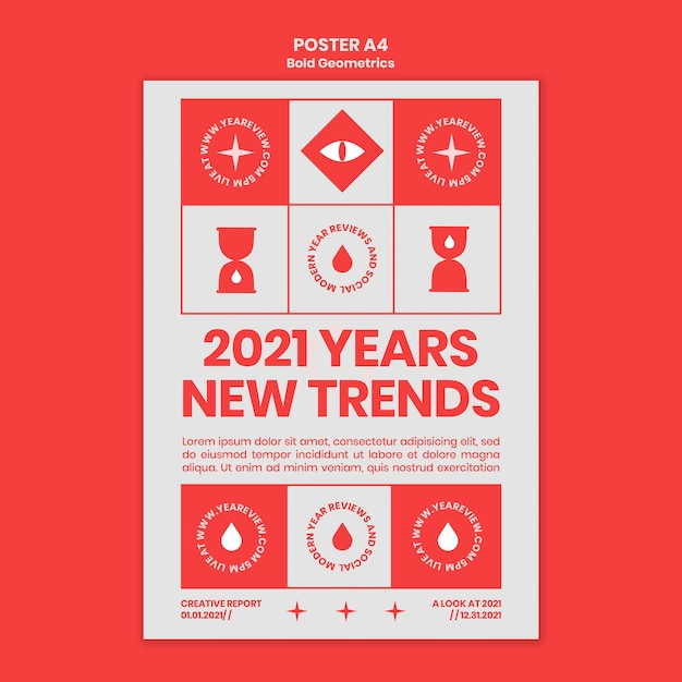 새해 검토 및 동향을위한 세로 포스터 템플릿 프리미엄 PSD 파일