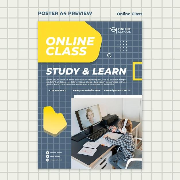 Вертикальный шаблон плаката для онлайн-занятий с ребенком Бесплатные Psd