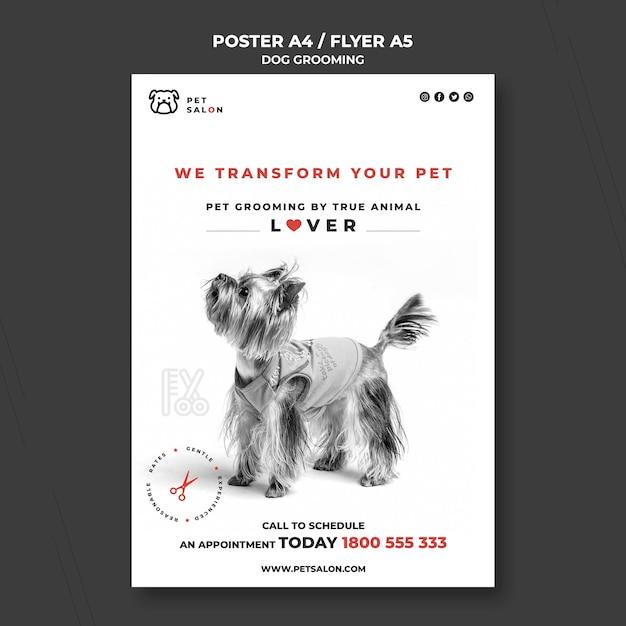 애완 동물 미용 회사를위한 세로 포스터 템플릿 무료 PSD 파일