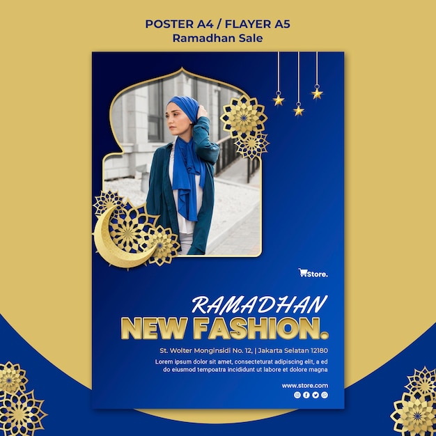 Вертикальный шаблон плаката для продажи рамадана Бесплатные Psd