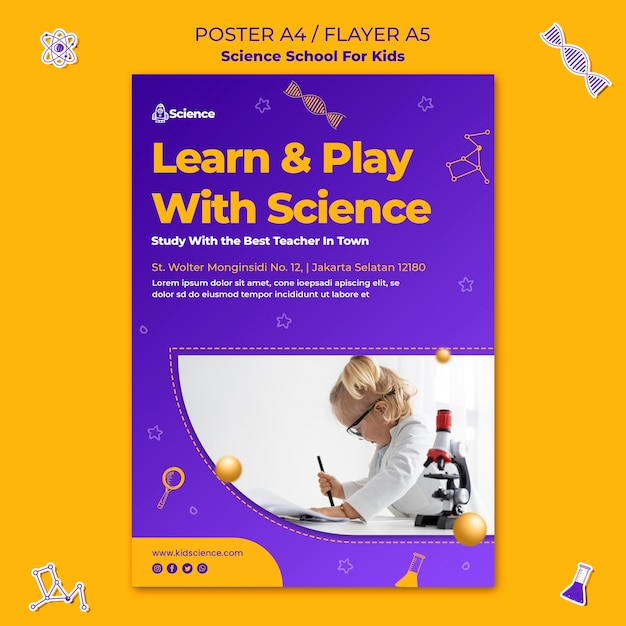 Вертикальный шаблон плаката для научной школы для детей Бесплатные Psd