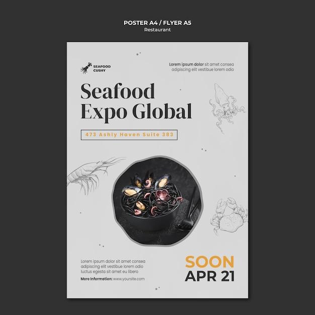 홍합과 국수가있는 해산물 레스토랑의 세로 포스터 템플릿 무료 PSD 파일