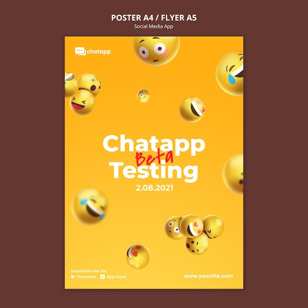 이모티콘이 포함 된 소셜 미디어 채팅 앱용 세로 포스터 템플릿 무료 PSD 파일