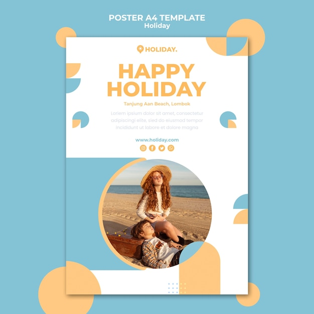 여름 휴가를위한 세로 포스터 템플릿 무료 PSD 파일