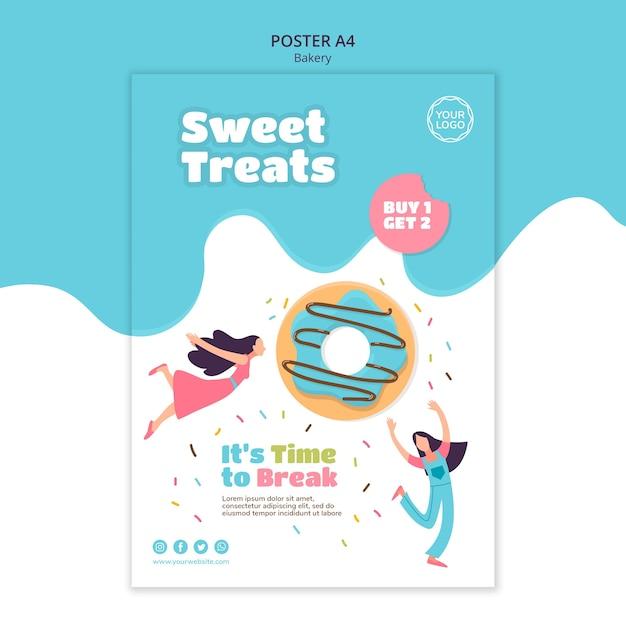 Вертикальный шаблон плаката для сладких запеченных пончиков Premium Psd