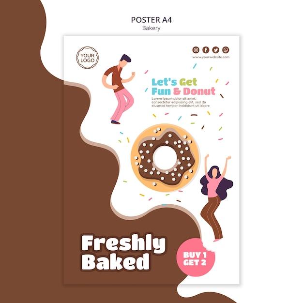 Вертикальный шаблон плаката для сладких запеченных пончиков Бесплатные Psd
