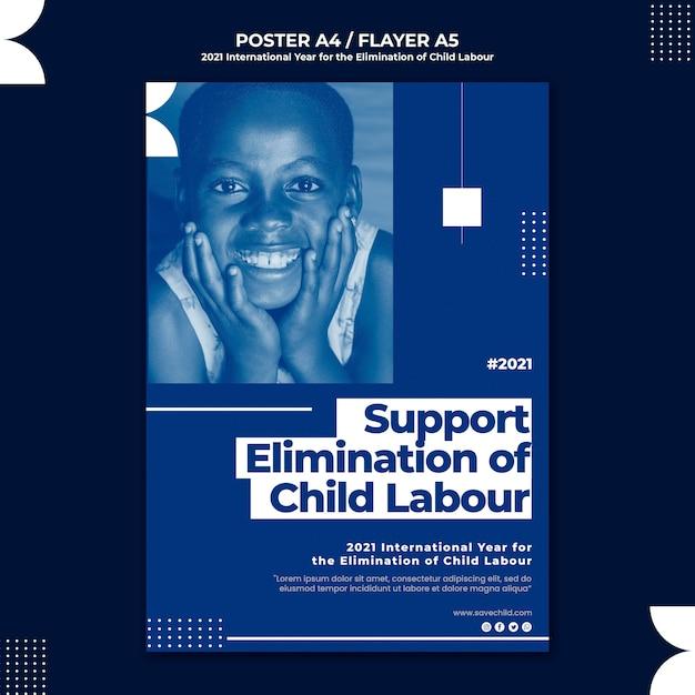 아동 노동 근절을위한 국제 연도의 세로 포스터 템플릿 무료 PSD 파일