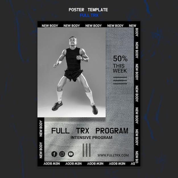 남자 선수와 trx 운동을위한 세로 포스터 템플릿 무료 PSD 파일