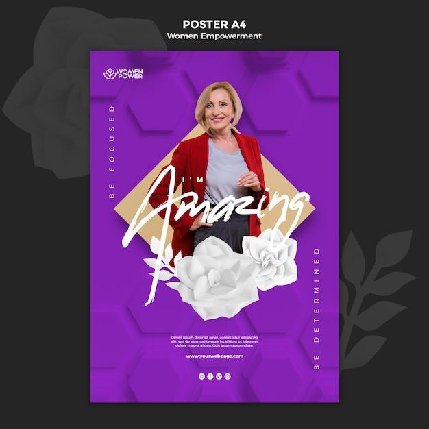 격려 단어로 여성 권한 부여를위한 세로 포스터 템플릿 무료 PSD 파일