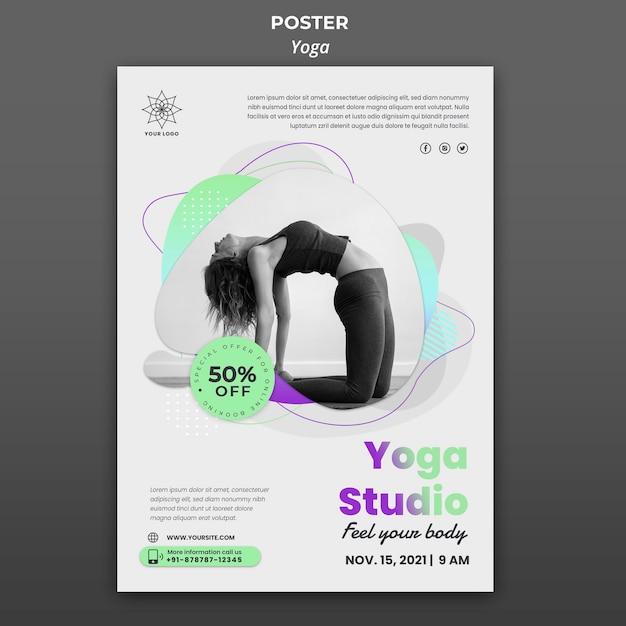 Вертикальный шаблон плаката для уроков йоги Premium Psd
