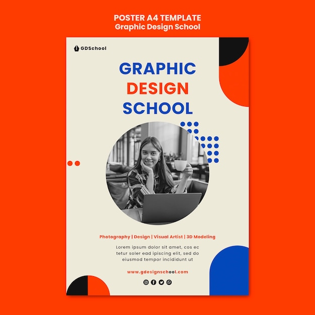Vertical poster template for graphic design school Free Psd