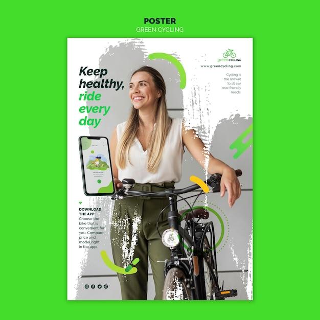 Vertical poster template for green biking Free Psd