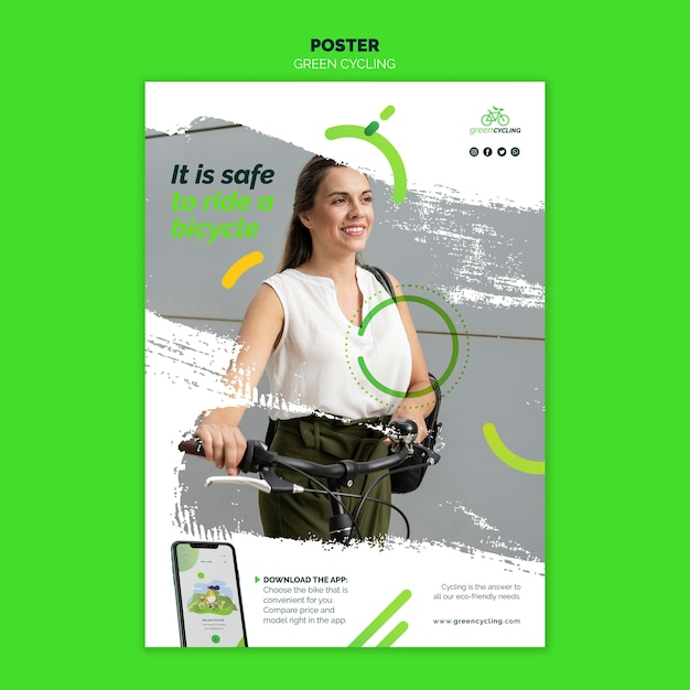 Vertical poster template for green biking Free Psd
