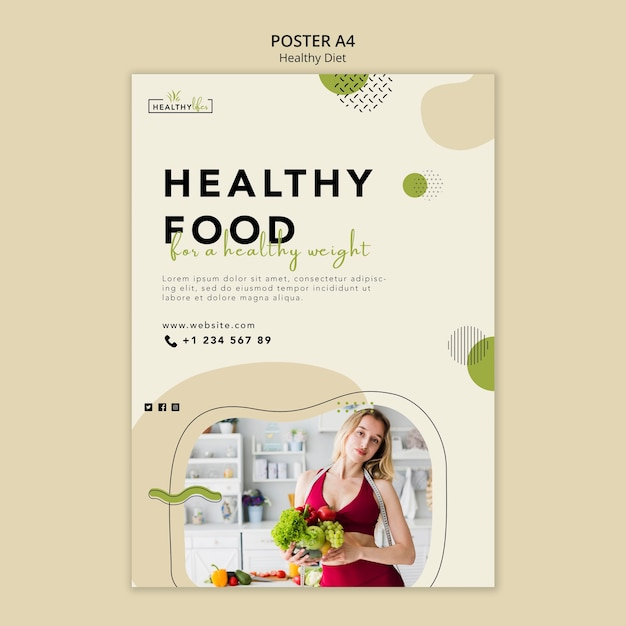 Vertical poster template for healthy nutrition Premium Psd
