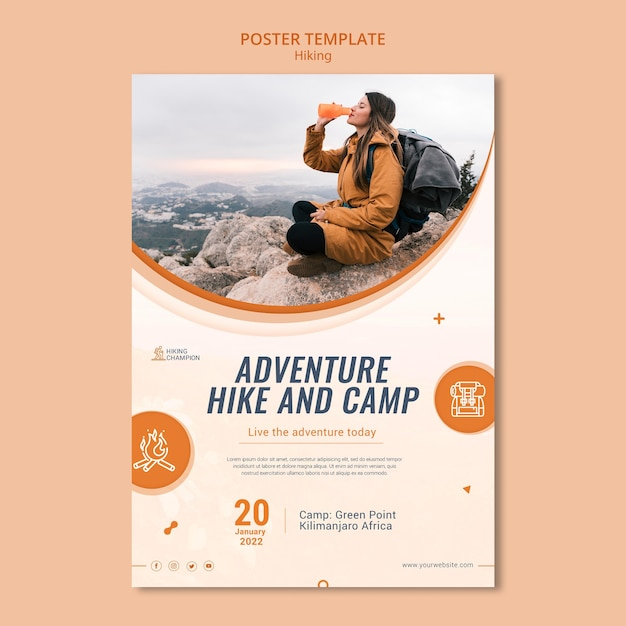 Vertical poster template for hiking in nature Free Psd