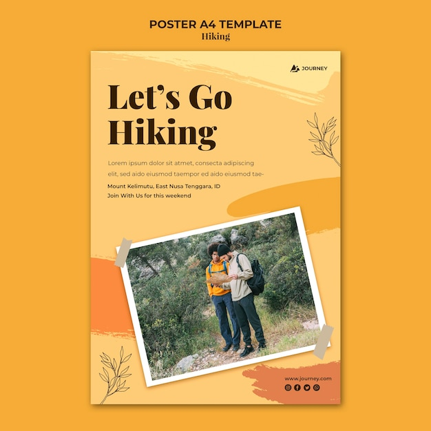 Vertical poster template for hiking Free Psd