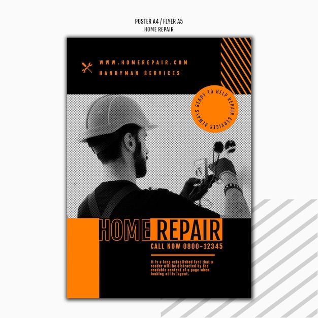 Vertical poster template for house repair company Free Psd