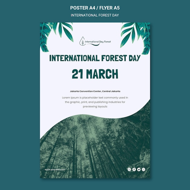 Vertical poster template for internation forest day celebration Free Psd