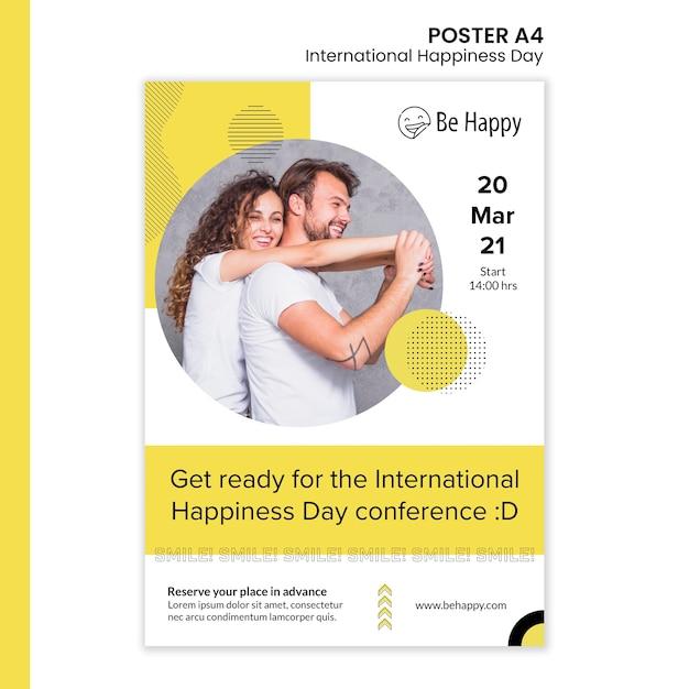 Modello di poster verticale per la giornata internazionale della felicità Psd Gratuite