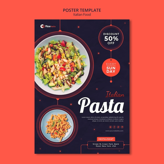 Vertical poster template for italian food restaurant Premium Psd