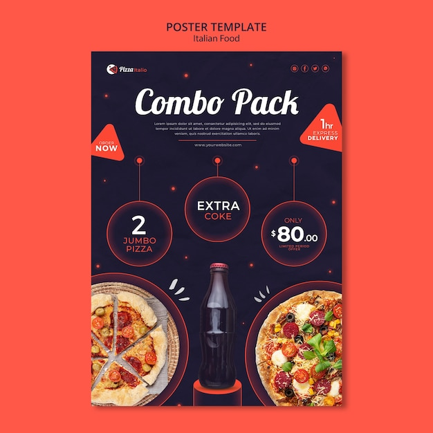 Vertical poster template for italian food restaurant Free Psd