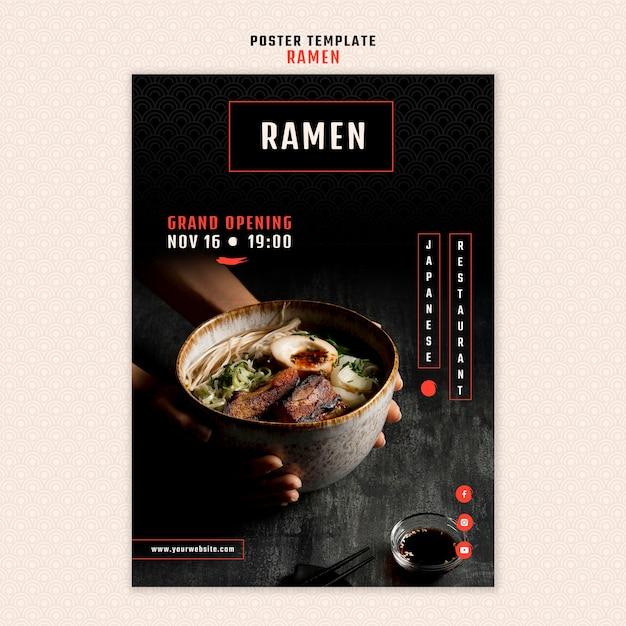 Vertical poster template for japanese ramen restaurant Free Psd