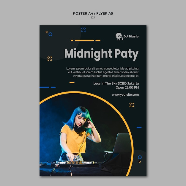 Vertical poster template for music festival Free Psd