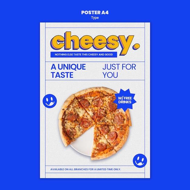 Modello di poster verticale per un nuovo sapore di pizza di formaggio Psd Gratuite