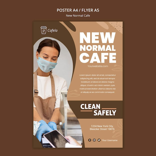Vertical poster template for new normal cafe Free Psd