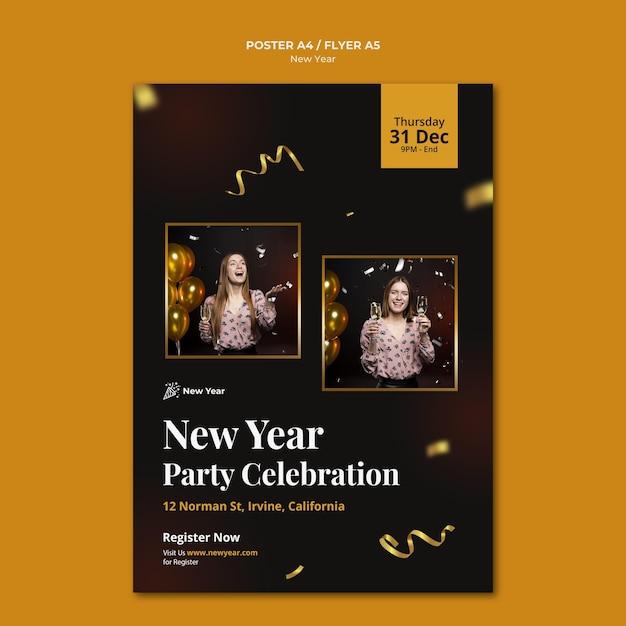 Modello di poster verticale per la festa di capodanno con donna e coriandoli Psd Gratuite