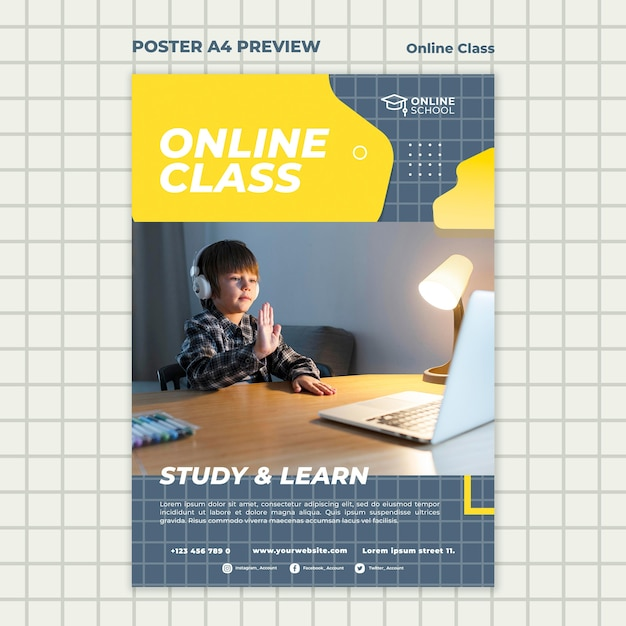Vertical poster template for online classes with child Premium Psd