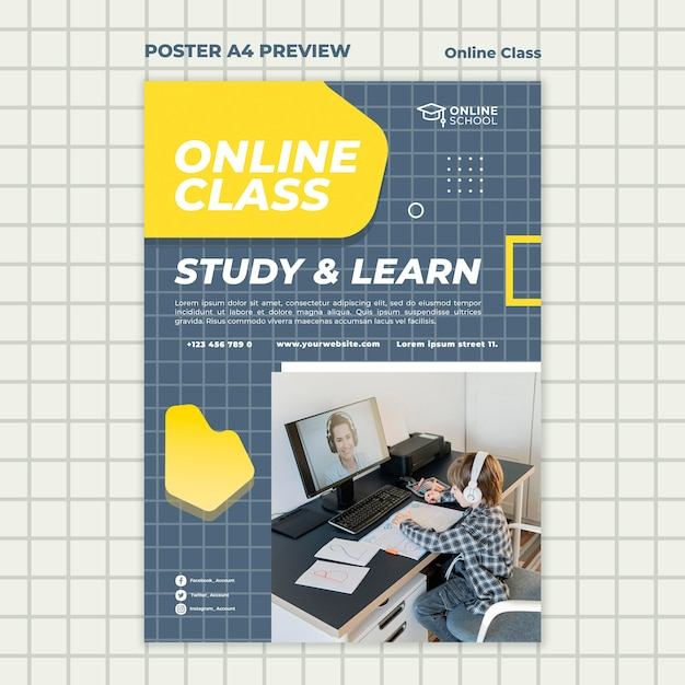 Vertical poster template for online classes with child Free Psd