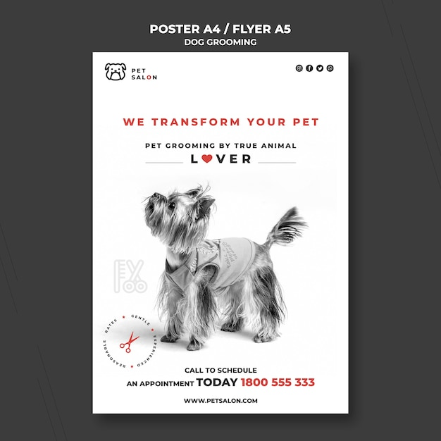 Vertical poster template for pet grooming company Free Psd