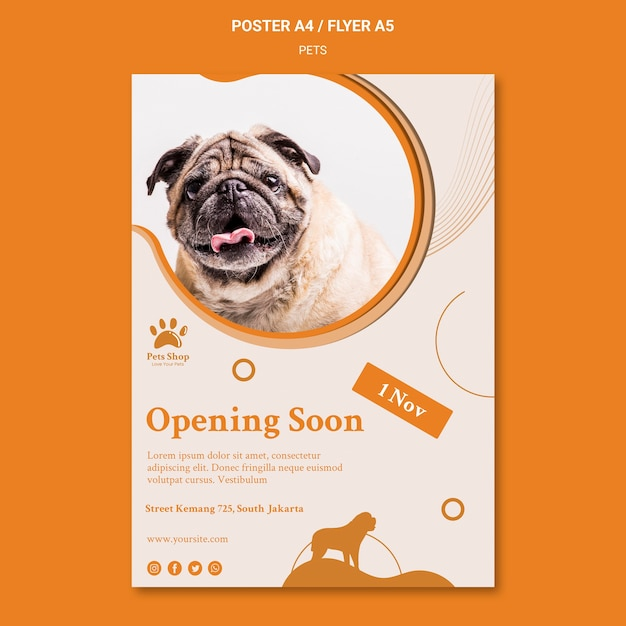 Vertical poster template for pet shop with dog Free Psd