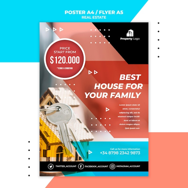Vertical poster template for real estate company Free Psd