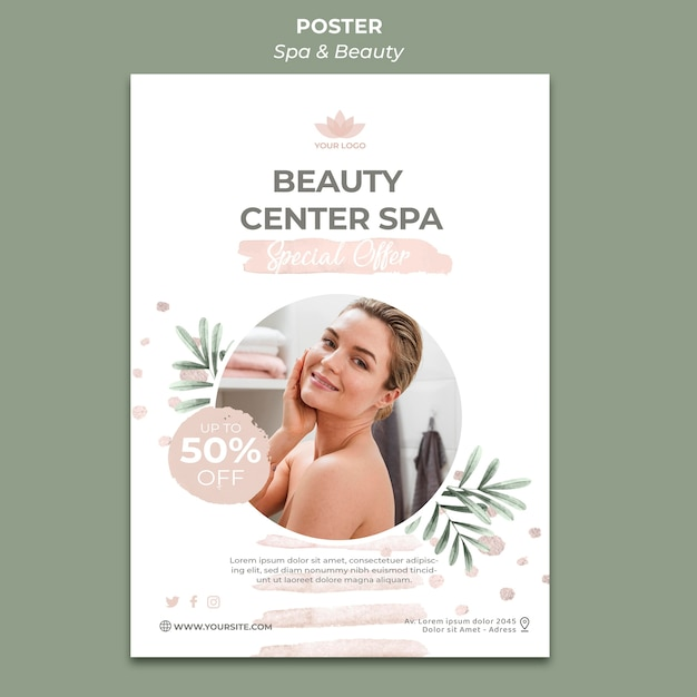 Vertical poster template for spa and therapy Free Psd