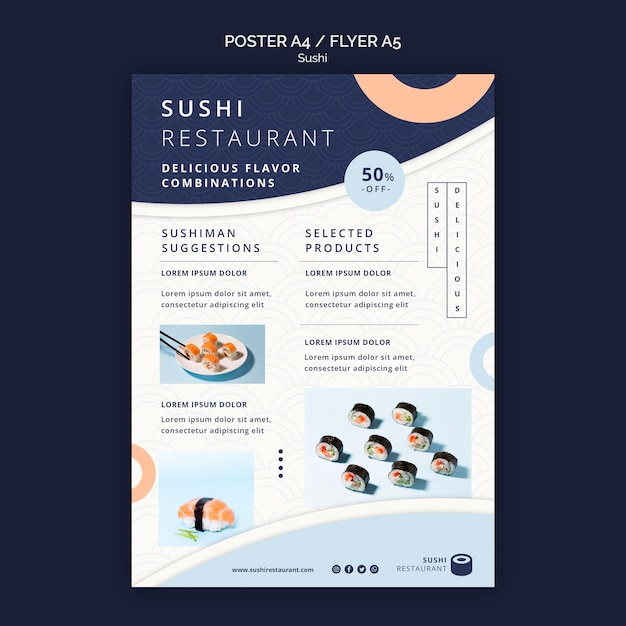 Vertical poster template for sushi restaurant Free Psd