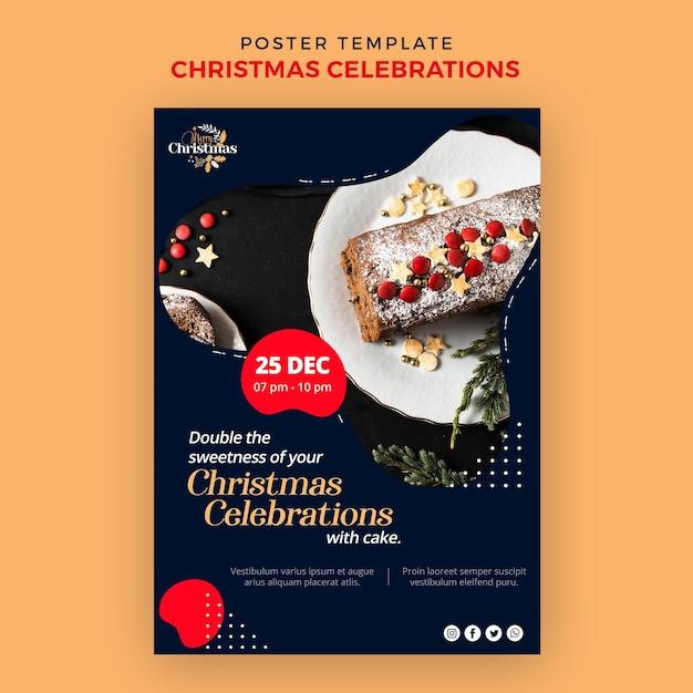 Modello di poster verticale per dolci natalizi tradizionali Psd Gratuite