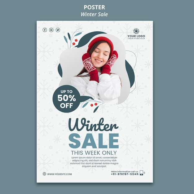 Vertical poster template for winter sale Free Psd