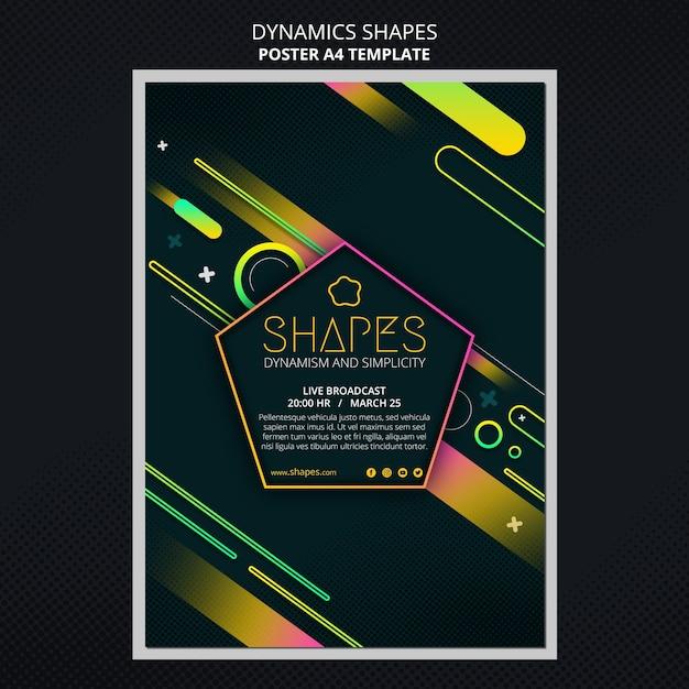 동적 기하학적 네온 모양의 세로 포스터 템플릿 프리미엄 PSD 파일