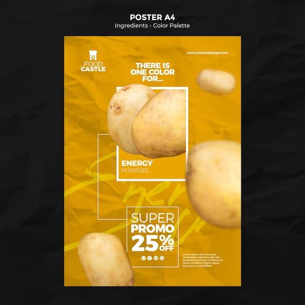 ジャガイモと垂直ポスターテンプレート 無料 Psd