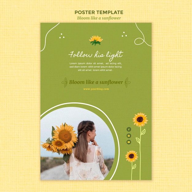 Vertical poster template with sunflowers and woman Free Psd