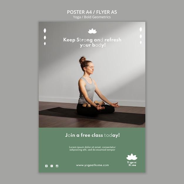 요가 연습하는 여자와 세로 포스터 템플릿 무료 PSD 파일