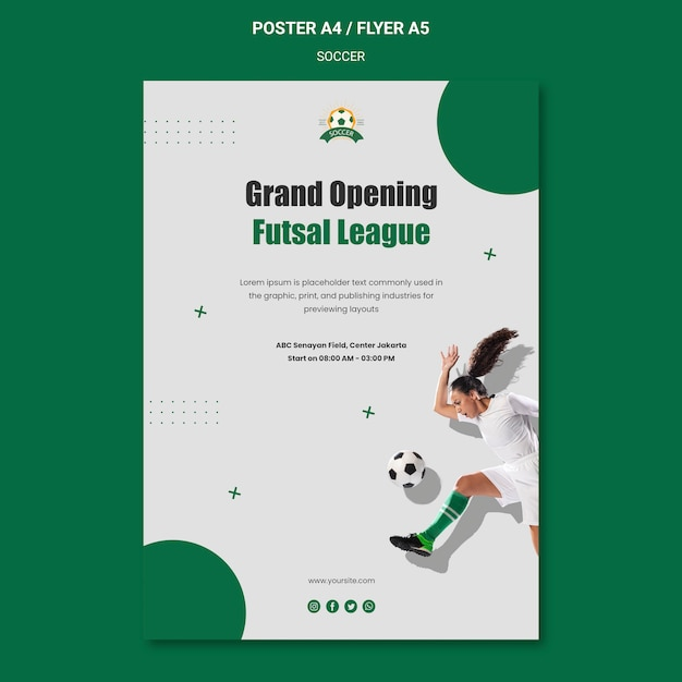 Vertical poster template for women's football league Free Psd