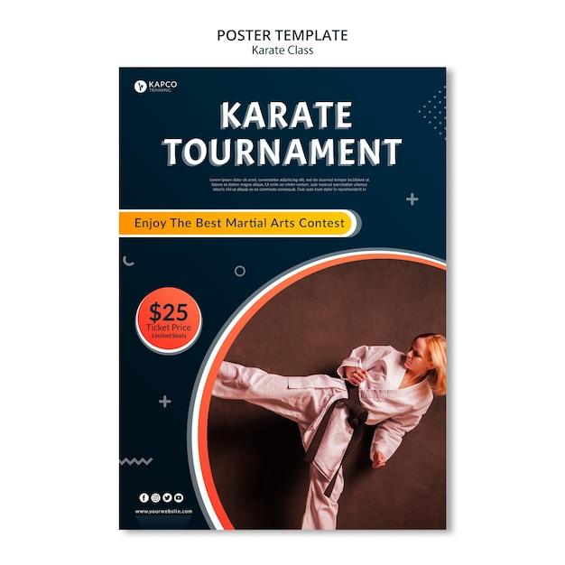 Modello di poster verticale per le lezioni di karate femminile Psd Gratuite