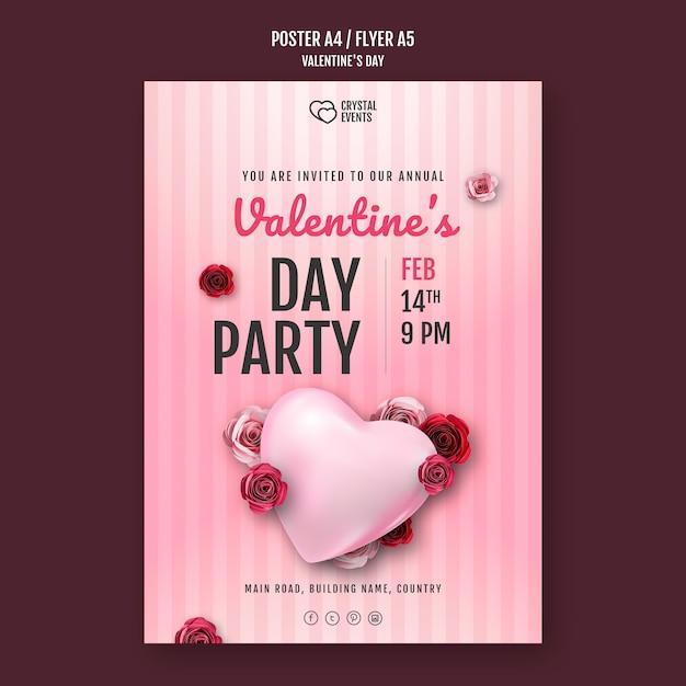 Poster verticale per san valentino con cuore e rose rosse Psd Gratuite