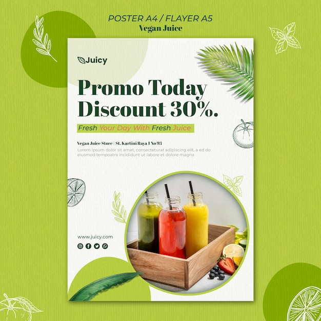 Vertical poster for vegan juice delivery company Free Psd
