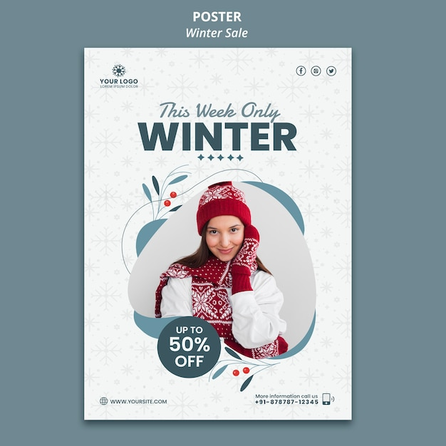 Vertical poster for winter sale Free Psd