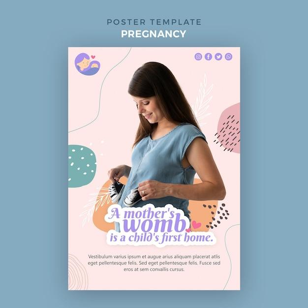 임신 한 여자와 세로 포스터 무료 PSD 파일